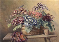 floral still life with basket and colorful shawl on a wood bench by camilla göbl-wahl