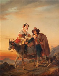 couple de musiciens avec âne et chien devant la baie de naples by nicaise de keyser