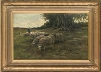 a shepherd grazing his flock by willem steelink