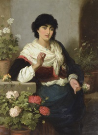 spanish lady with flowers by robert kemm
