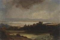 landschaft mit see nach einem gewitter by richard fresenius