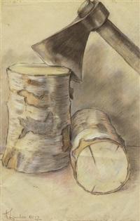 zwei birkenklötze mit beil by ugo zaccheo