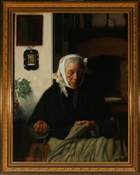 older woman doing needlework by armand lejeune