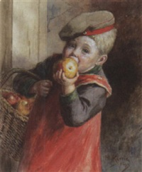 kleiner junge mit großem apfel by heinrich rettig