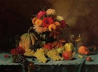 stilleben mit trauben, äpfeln, birne, nuss und melone. gefülltes glas und bunter blütenstrauß by alois zabehlicky