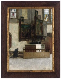 a monk praying (+ and portrait of a young girl, verso) by alfred george webster