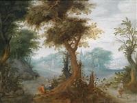 bewaldete landschaft mit einem dorf und wanderern by alexander keirincx