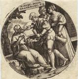durstige tränken, pl.2 (from die werke der barmherzigkeit) by georg pencz