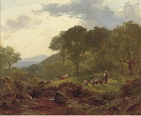 a shepherd and his flock in a devonshire landscape by william (of plymouth) williams