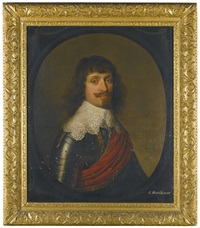 portrait of a gentleman, head and shoulders, with a red sash over his armour by gerrit van honthorst