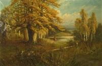 autumn street scene by vladimir lazarev