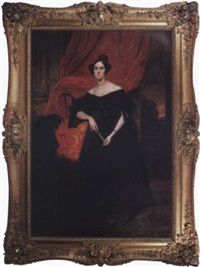 portrait of a woman wearing a black satin and lace gown against a red velvet curtain, distant landscape by leon viardot