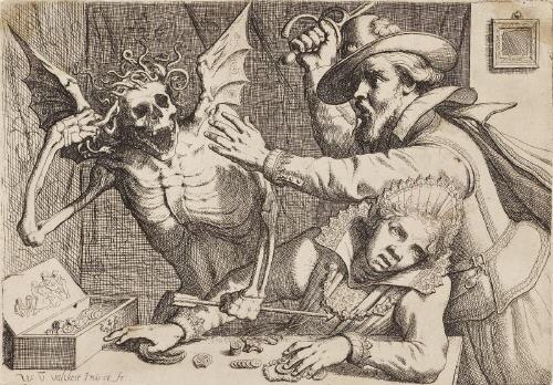 junges paar mit dem rasenden tod altes paar und tod 2 works by werner van den valckert