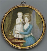 wilhelmina, princess of orange-nassau in blue dress with lace underslip and white sash, holding her son guillot, the future king william ii of the netherlands by pierre le sage