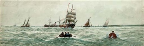 congested waters off shoreham (+ running through coastal traffic; pair) by marie-edouard adam