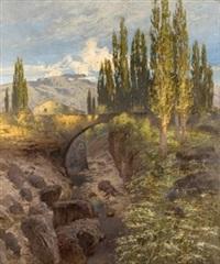 paisaje con puente by nicolas raurich y petre