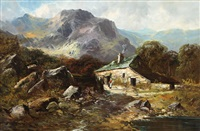 old cottages near barmouth, north wales by george w. aikman