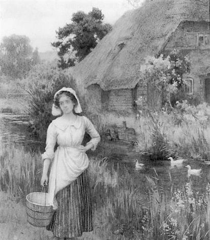 rural scene with maiden before a cottage by william affleck