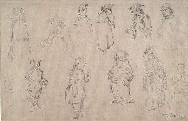 skizzenblatt mit zwölf figurenstudien by carl spitzweg
