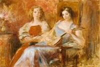 zwei elegante damen im salon by otolia kraszewska