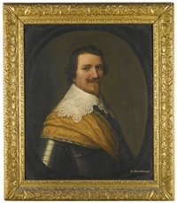 portrait of a gentleman, head and shoulders, with a gold sash around his armour by gerrit van honthorst