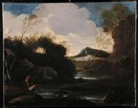 scorcio paesistico fluviale con quinte arboree e pescatori by maestro della betulla