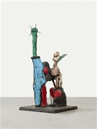 pietrasanta bronzen: frau mit spiegel. der schauspieler. mann mit blauem ball. der gärtner. odaliske. akt mit spielzeug (6 works) by markus lüpertz