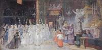 jeunes filles recevant la bénédiction by giulio rosati