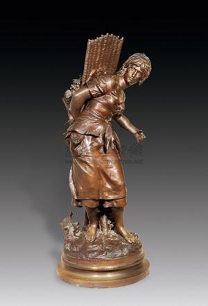 摘葡萄的女工 纯铜 雕塑 les ouvrieres recolter des raisins by mathurin moreau