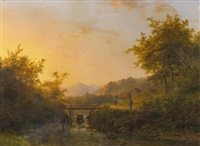 landscape with peasants walking near a river at dusk by johann bernard klombeck