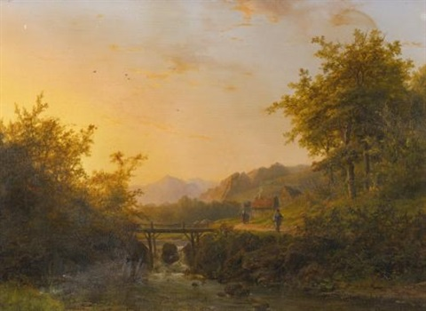 landscape with peasants walking near a river at dusk by johann bernard klombeck