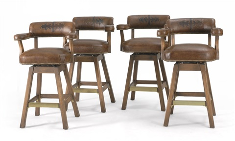 Astonishing High Back Bar Stools Set Of 4 Works By Kings Ranch Saddle Caraccident5 Cool Chair Designs And Ideas Caraccident5Info