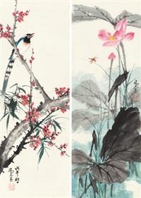 园趣 (二幅) 镜片 纸本 (2 works) by qiao mu