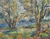 bäume am fluss by manfred henninger