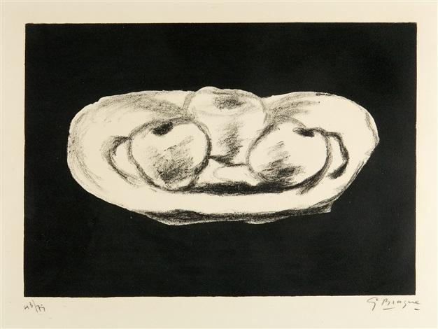 pommes sur fond noir by georges braque