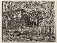 westfälischer bauernhof im herbst (bauerngehöft in arrode) by peter august böckstiegel