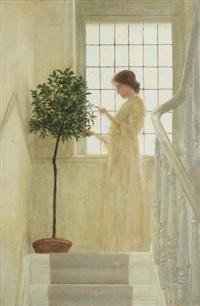 femme près de la fenêtre sur l'escalier by sonia abeloos