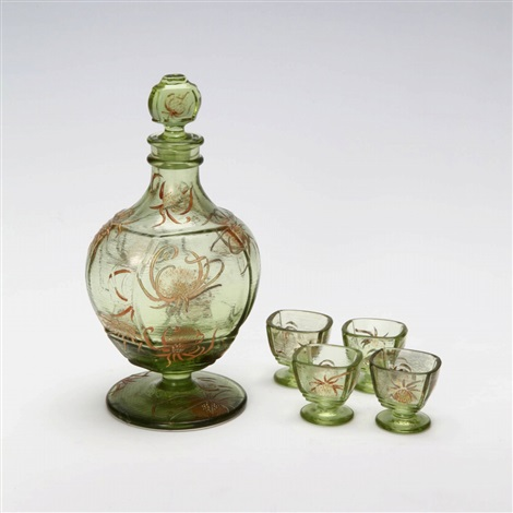 thistle liquer set set of 5 by émile gallé