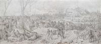 szene aus dem deutsch-französischen krieg. große kavallerie vor einem dorf (on joined paper) by eugen adam