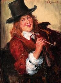 portrait eines jungen mannes in historischer tracht mit tonpfeife by wilhelm karl räuber