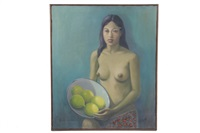 woman with a bowl of fruit by raúl anguiano