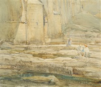 children playing on limestone rocks beside a river in a dales landscape by arthur reginald smith