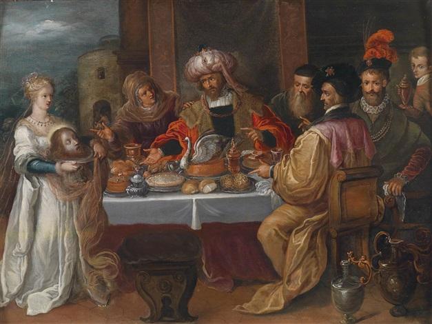 das gastmahl des herodes mit salome und dem kopf des johannes (matthäus 14, 3.11) by frans francken the younger
