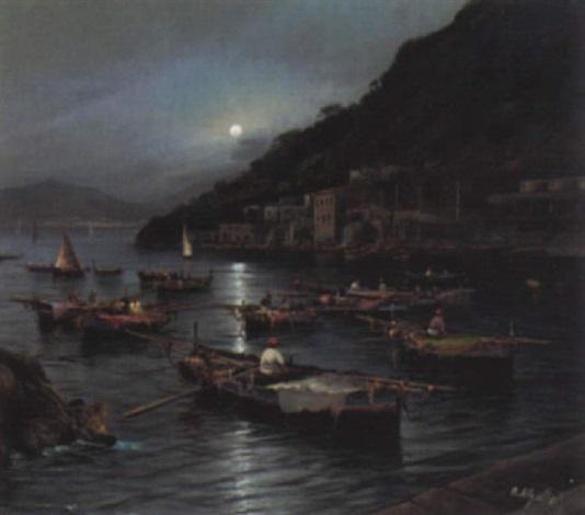 lagune mit fischern bei mondschein by mario allegretti