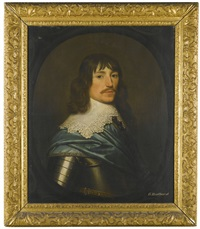 portrait of a gentleman, head and shoulders, with a blue sash around his armour by gerrit van honthorst