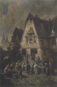 gemüsemarkt in nordfranzösischer stadt by léonard saurfelt