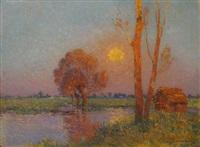 la brière au coucher de soleil by ferdinand puigaudeau