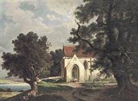 blick auf die st. georgskirche in allmannsdorf bei konstanz mit blick auf meersburg am gegenüberliegenden ufer by hermann herdtle