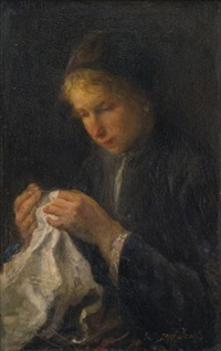 woman sewing by jozef israëls