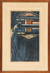 a blue cottage reflected in a pool by junichiro sekino